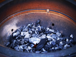 charcoal smouldering in big joe